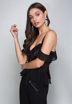 bebe Ruffled Off Shoulder Top