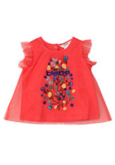 bebe Embroidered Tulle Top