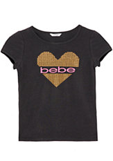 bebe Rhinestud Logo Heart Top