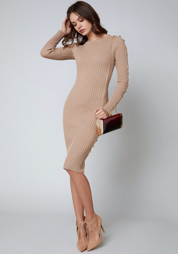 Button Trim Sweater Dress at bebe in Sherman Oaks, CA | Tuggl