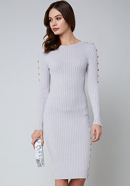 bebe Button Trim Sweater Dress