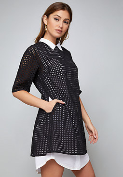bebe Eyelet Overlay Shirtdress