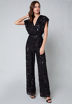 bebe Allover Sequin Jumpsuit