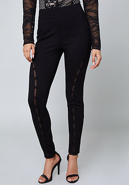 bebe Covered Button Leggings