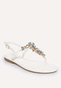 bebe Lana Jeweled Flat Sandals