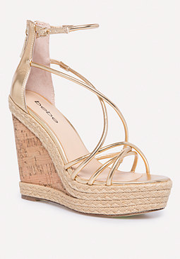 bebe Mayaa Metallic Cork Wedges