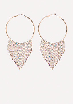 bebe Crystal Trim Hoop Earrings