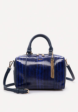bebe Faux Snake Box Satchel