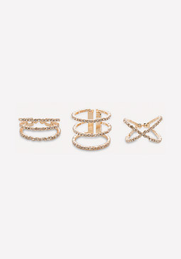 bebe Crystal Band Ring Set