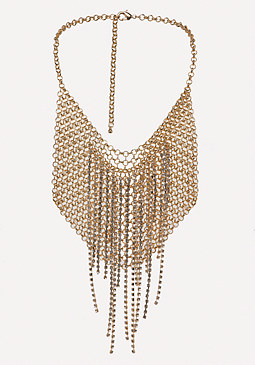 bebe Chainmail Bib Necklace