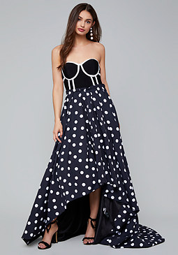 bebe Whitney Polka Dot Gown