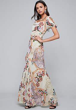 bebe Print Chiffon Maxi Dress