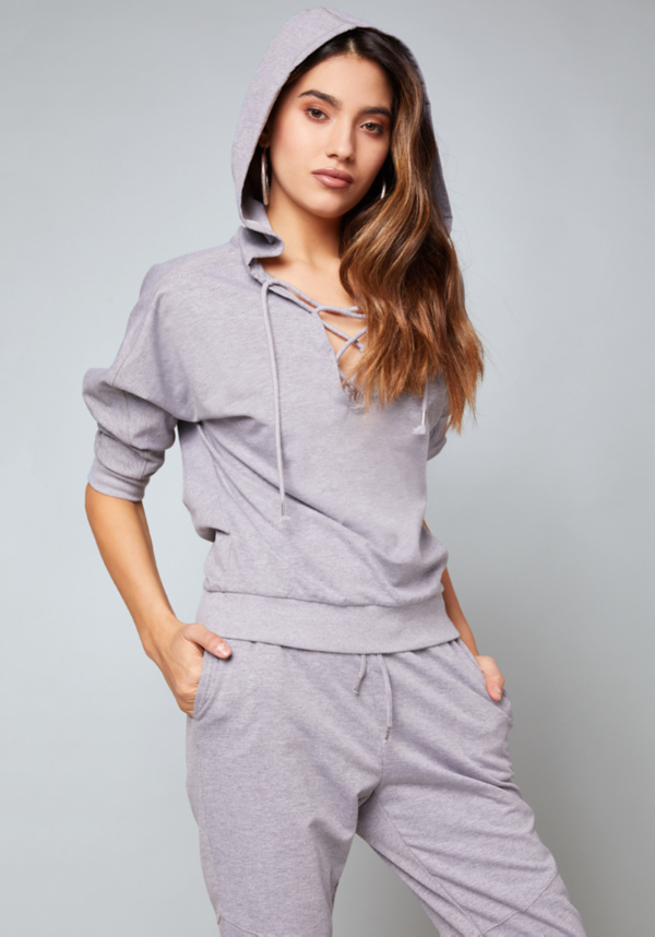 Lace Up Hooded Pullover at bebe in Sherman Oaks, CA | Tuggl
