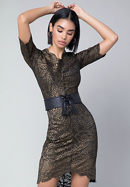bebe Leila Metallic Lace Dress