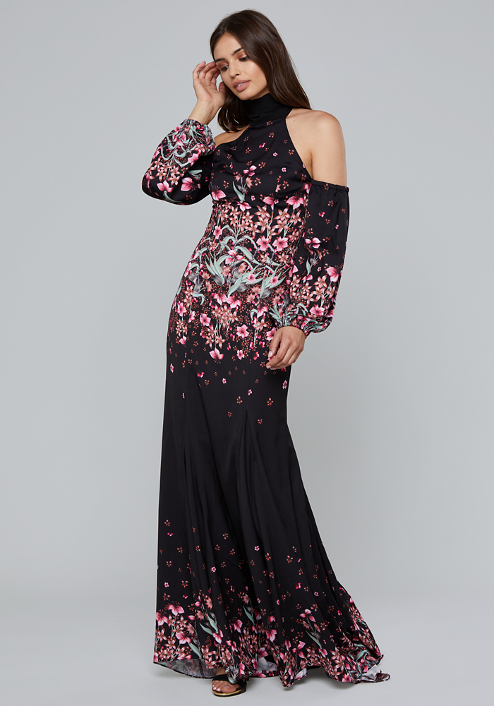 Print Cold Shoulder Gown by Bebe