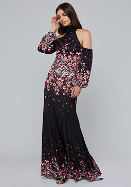 bebe Print Cold Shoulder Gown