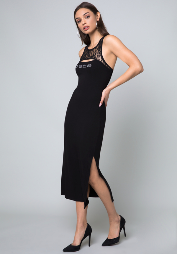 Logo Ribbed Midi Dress at bebe in Sherman Oaks, CA | Tuggl