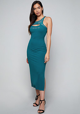 bebe Logo Ribbed Midi Dress
