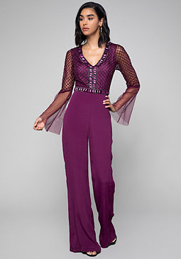 bebe Beaded V-Neck Jumpsuit