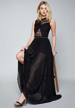 bebe Mila Lace & Mesh Gown