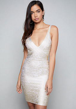 bebe Gold V-Neck Bandage Dress