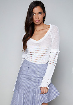 bebe Pointelle Sweater Top