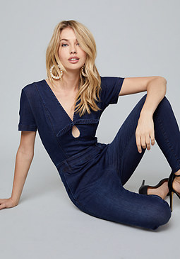 bebe Bow Deep V Jumpsuit