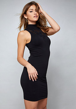 bebe Mock Neck Bodycon Dress