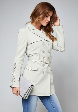 bebe Back Lace Up Trench Coat