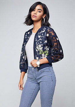 bebe Embroidered Lace Jacket