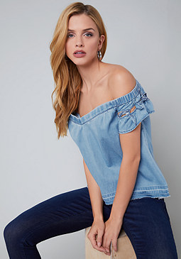 bebe Denim Bow Detail Top