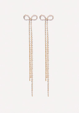 bebe Crystal Bow Duster Earrings