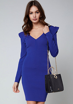 bebe Ruffle Detail V-Neck Dress