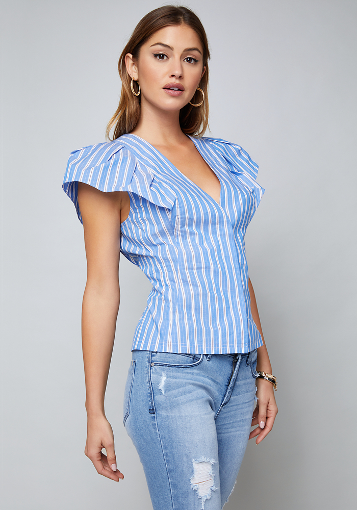 Piper Striped Poplin Top by Bebe