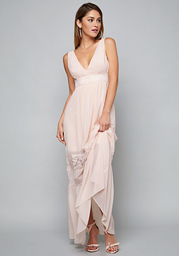 bebe Lace Trim Maxi Dress