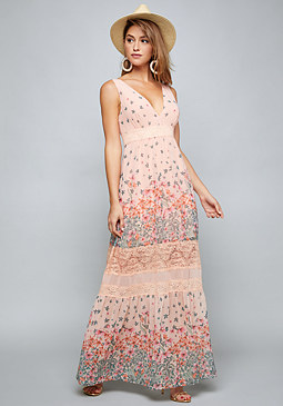 bebe Lace Trim Print Maxi Dress