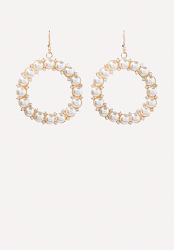 bebe Faux Pearl Hoop Earrings