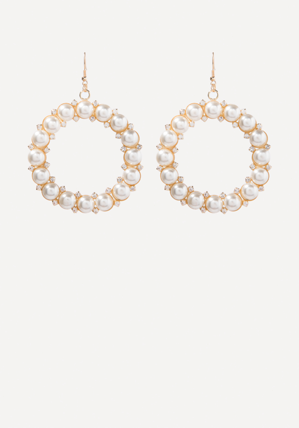Faux Pearl Hoop Earrings at bebe in Sherman Oaks, CA | Tuggl