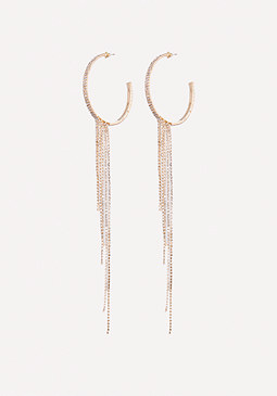 bebe Crystal Drape Hoop Earrings