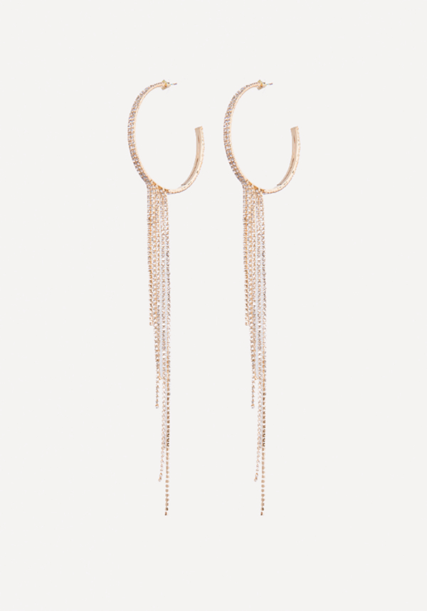 Crystal Drape Hoop Earrings at bebe in Sherman Oaks, CA | Tuggl
