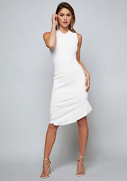 bebe Pointelle Asymmetric Dress