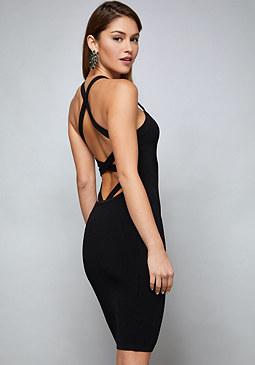 bebe Strappy Back Ribbed Dress