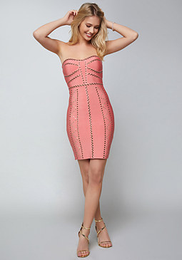 bebe Studded Goddess Mini Dress