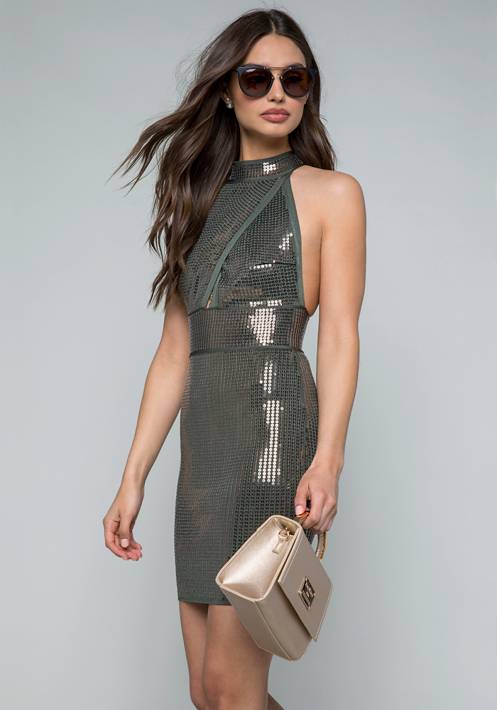 Sequin Bandage Mini Dress by Bebe