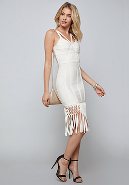 bebe Fringe Bandage Dress