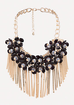 bebe Fringe Floral Necklace