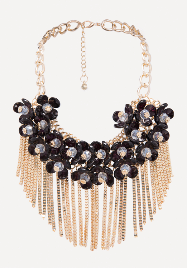 Fringe Floral Necklace at bebe in Sherman Oaks, CA | Tuggl