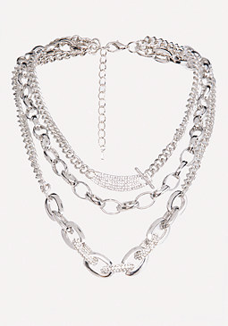 bebe Triple Chainlink Necklace