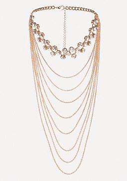bebe Draped Chain Crystal Choker