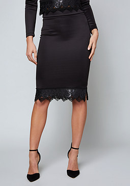 bebe Scuba & Faux Leather Skirt